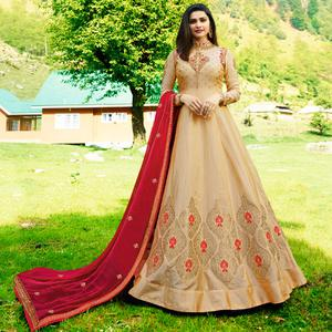 Pretty Beige Colored Party Wear Embroidered Art Silk Jacquard Anarkali Suit