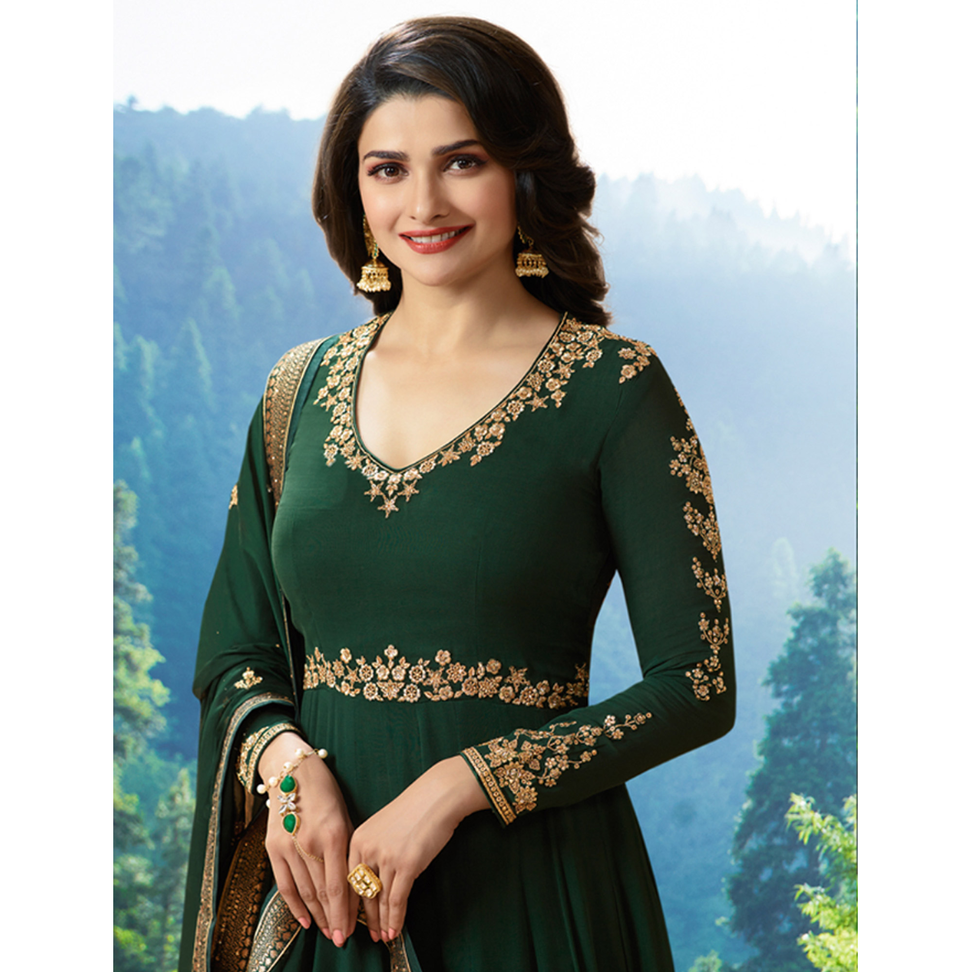 Charming Green Colored Party Wear Embroidered Georgette Anarkali Suit