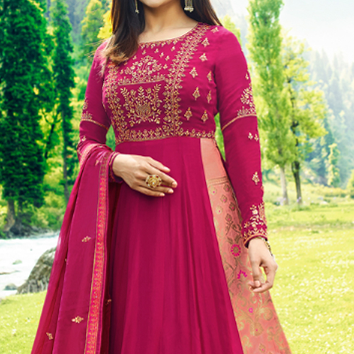 Marvellous Magenta Pink Colored Party Wear Embroidered Georgette Satin Anarkali Suit