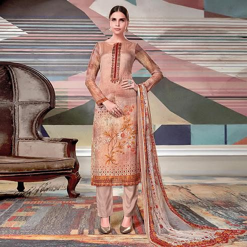 Charming Beige Colored Casual Printed Crape Georgette Dress Material