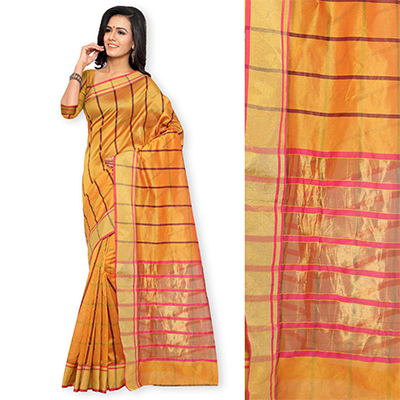 Orange Checkered Woven Saree