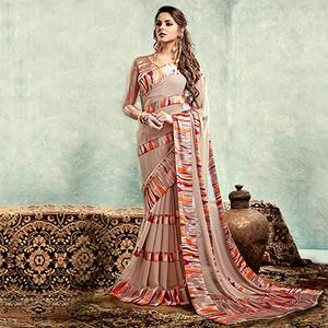 Pale Pink Casual Printed Saree