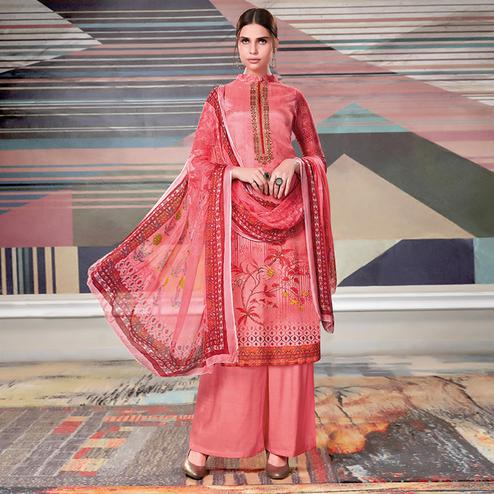 Ravishing Pink Colored Casual Printed Crape Georgette Dress Material