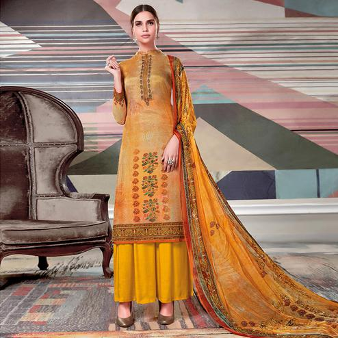 Classy Light Yellow Colored Casual Printed Crape Georgette Dress Material