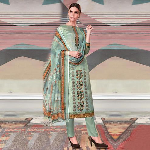 Stunning Baby Blue Colored Casual Printed Crape Georgette Dress Material