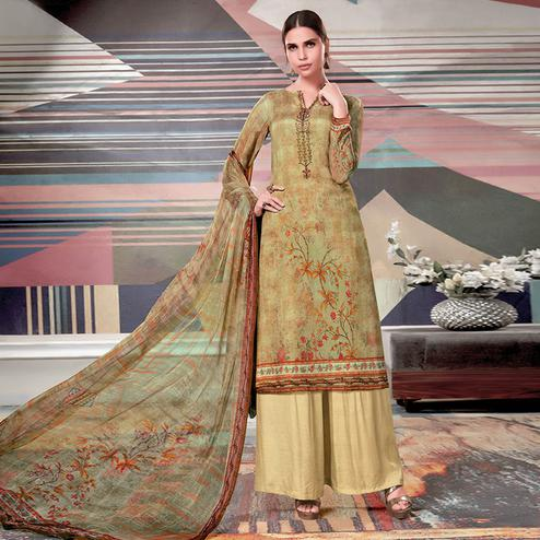 Mesmerising Cream - Green Colored Casual Printed Crape Georgette Dress Material