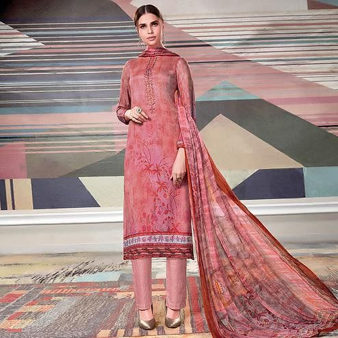 Ravishing Light Pink Colored Casual Printed Crape Georgette Dress Material