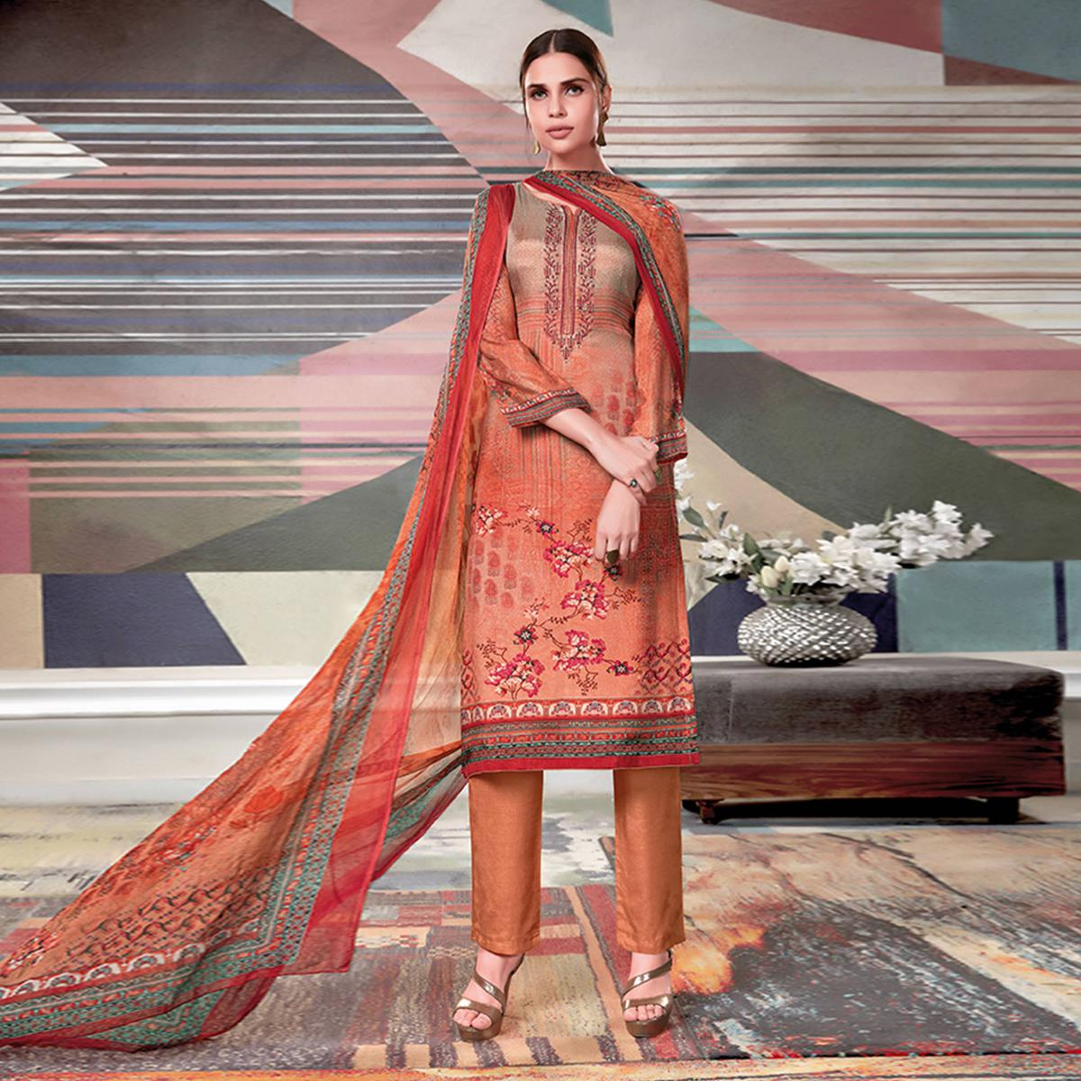 Graceful Rust Red Colored Casual Printed Crape Georgette Dress Material