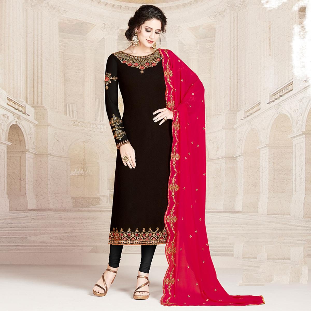 Intricate Black Colored Party Wear Embroidered Georgette Suit