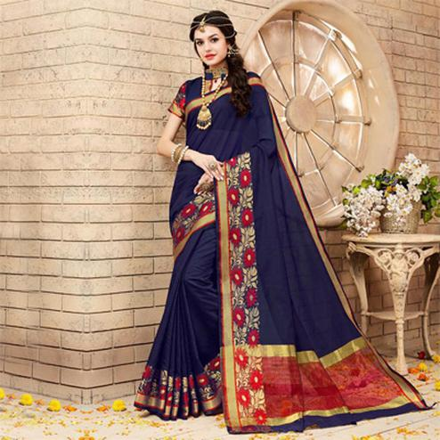 Navy Blue Weaving Work Silk Saree