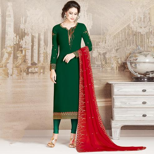 Desirable Dark Green Colored Party Wear Embroidered Georgette Suit