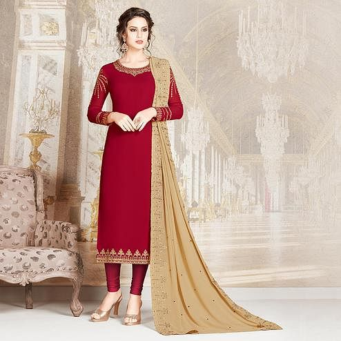 Sophisticated Maroon Colored Party Wear Embroidered Georgette Suit