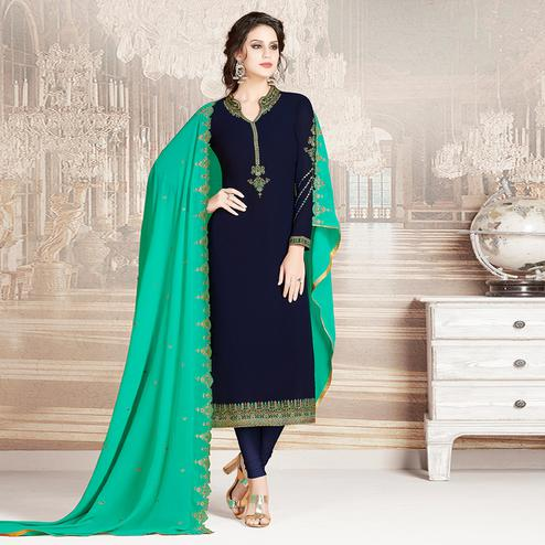 Demanding Navy Blue Colored Party Wear Embroidered Georgette Suit