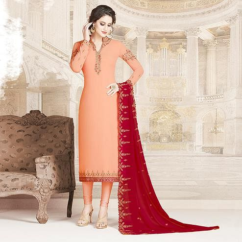 Pleasant Peach Colored Party Wear Embroidered Georgette Suit