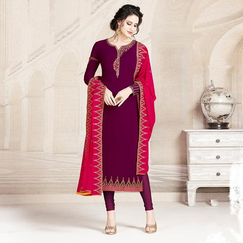 Unique Purple Colored Party Wear Embroidered Georgette Suit