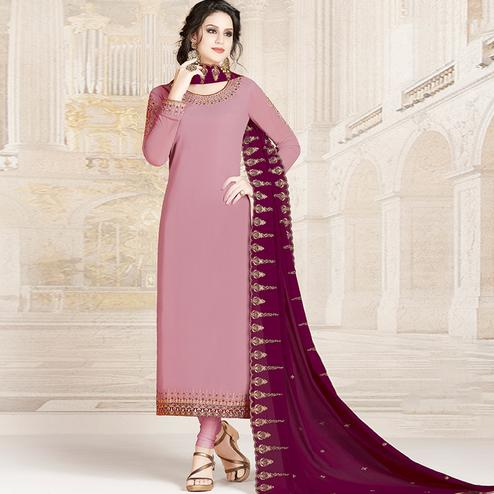 Elegant Mauve Colored Party Wear Embroidered Georgette Suit