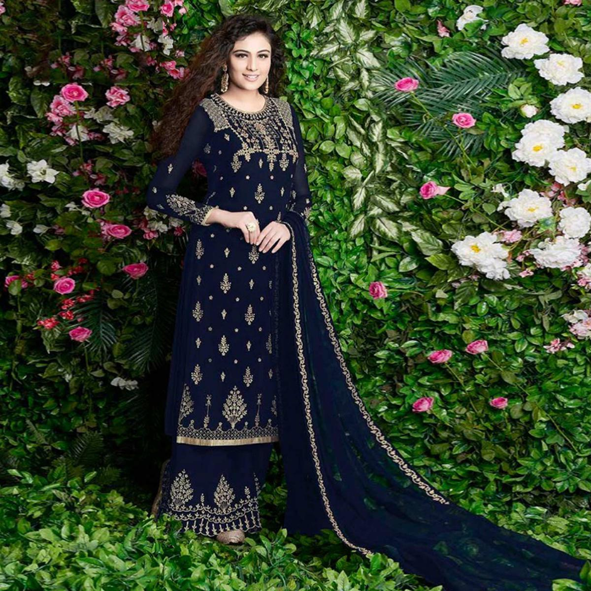 Dazzling Navy Blue Colored Party Wear Embroidered Georgette Palazzo Suit