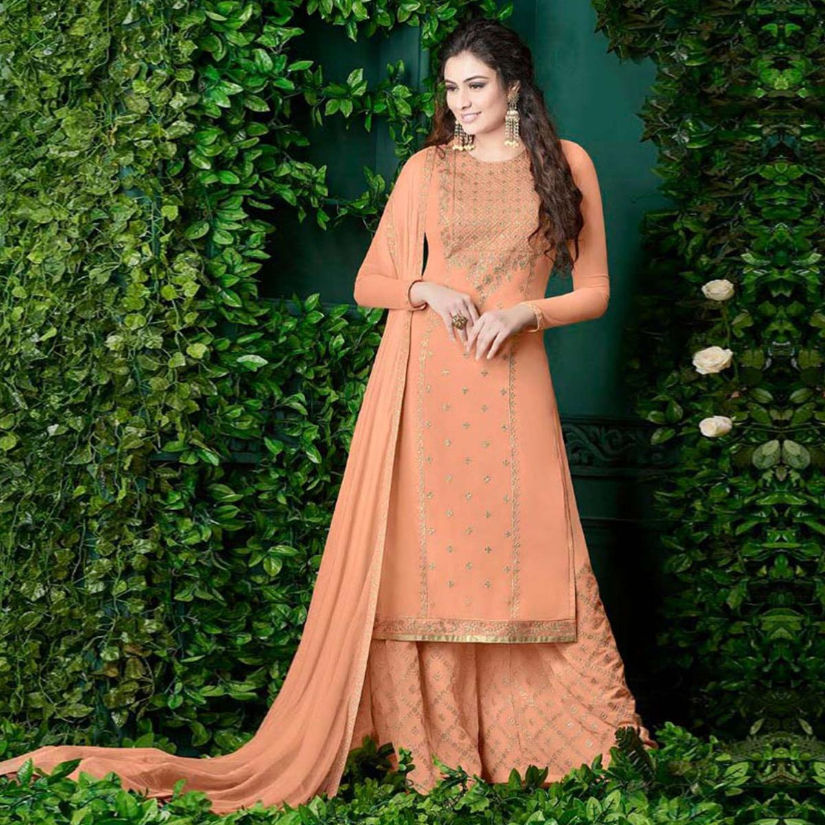 Flattering Peach Colored Party Wear Embroidered Georgette Palazzo Suit