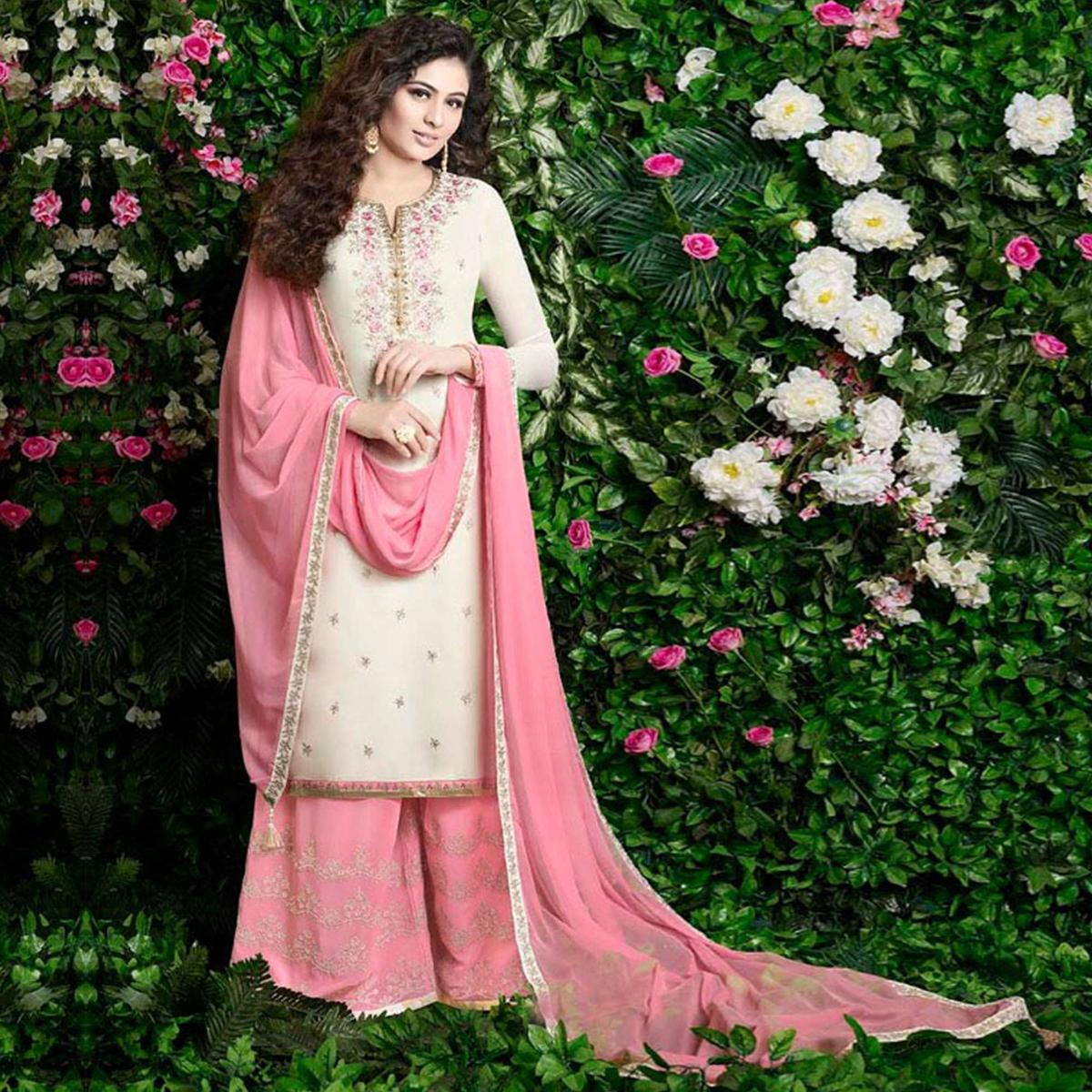 Breathtaking Off White Colored Party Wear Embroidered Georgette Palazzo Suit