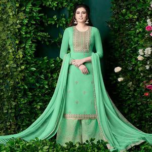 Impressive Light Green Colored Party Wear Embroidered Georgette Palazzo Suit