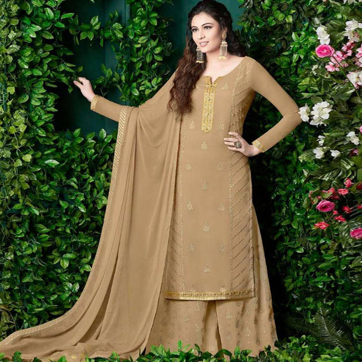 Innovative Beige Colored Party Wear Embroidered Georgette Palazzo Suit