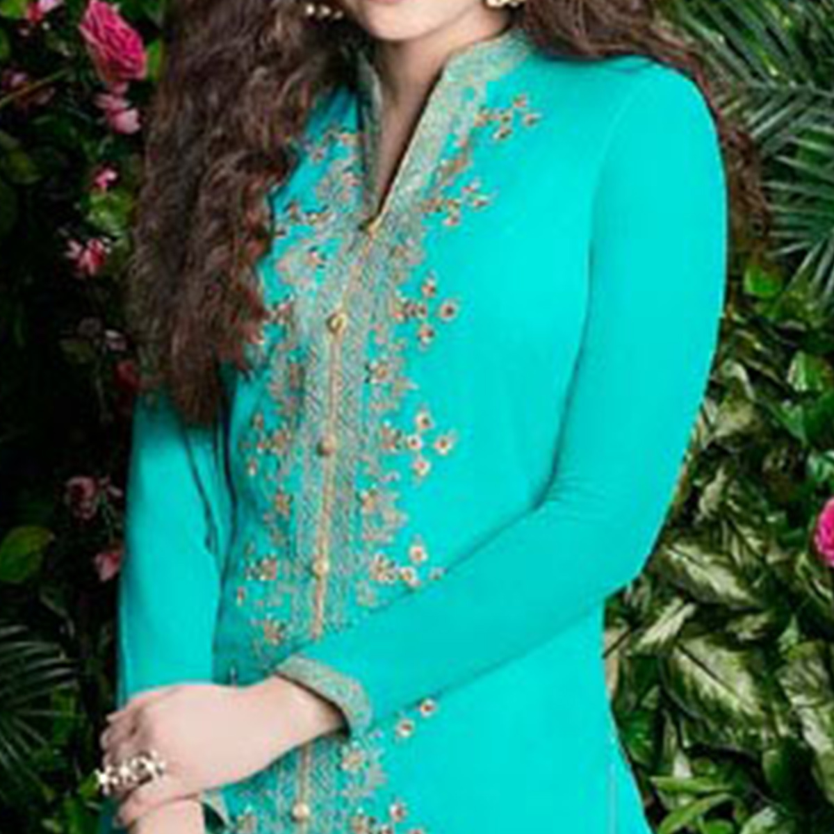 Gleaming Turquoise Blue Colored Party Wear Embroidered Georgette Palazzo Suit