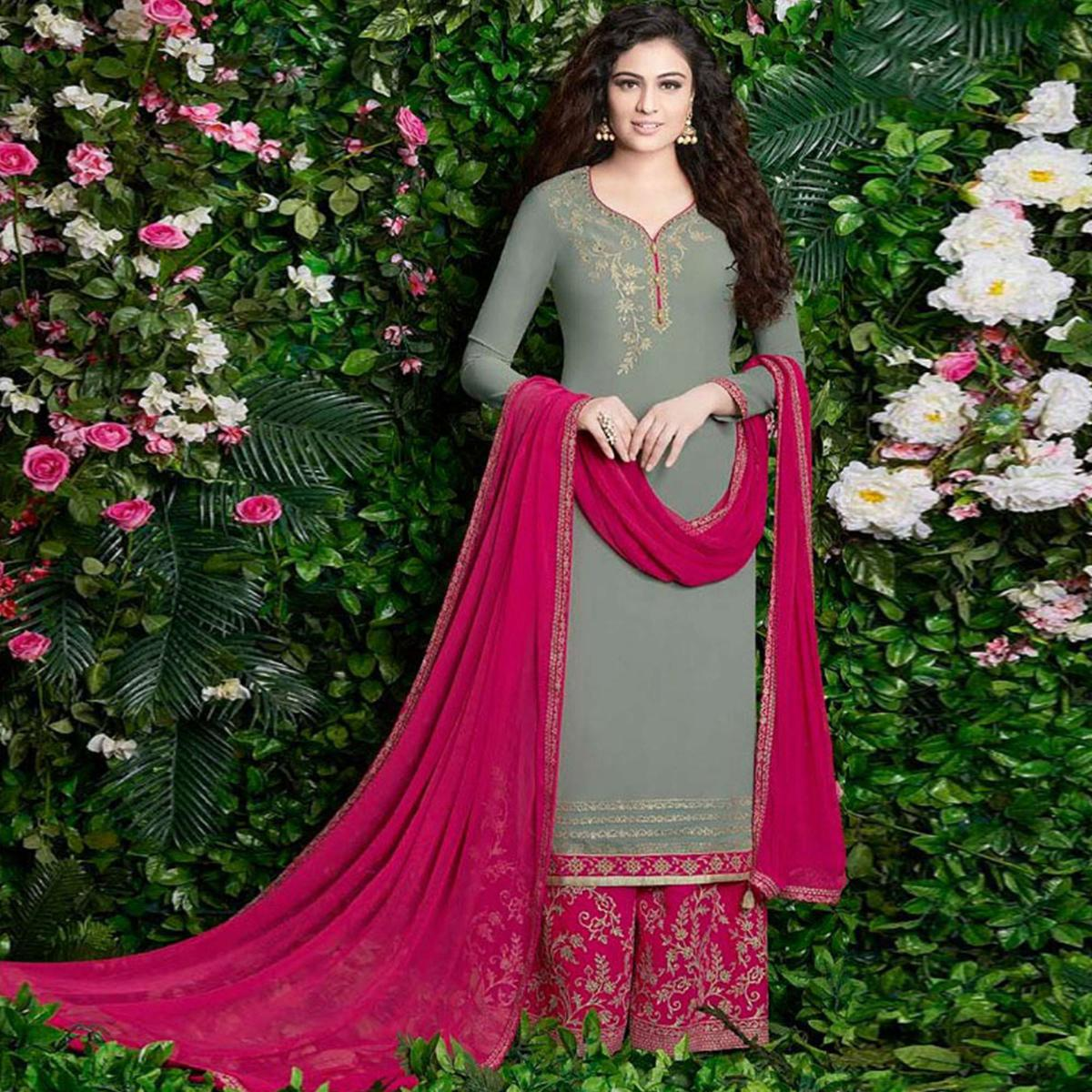 Arresting Grey Colored Party Wear Embroidered Georgette Palazzo Suit