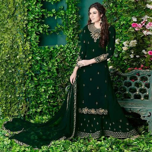 Exceptional Forest Green Colored Party Wear Embroidered Georgette Palazzo Suit