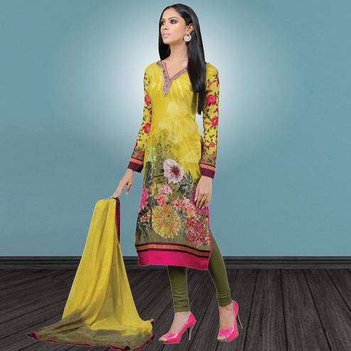 Impressive Pear Green Colored Party Wear Embroidered Crape Suit