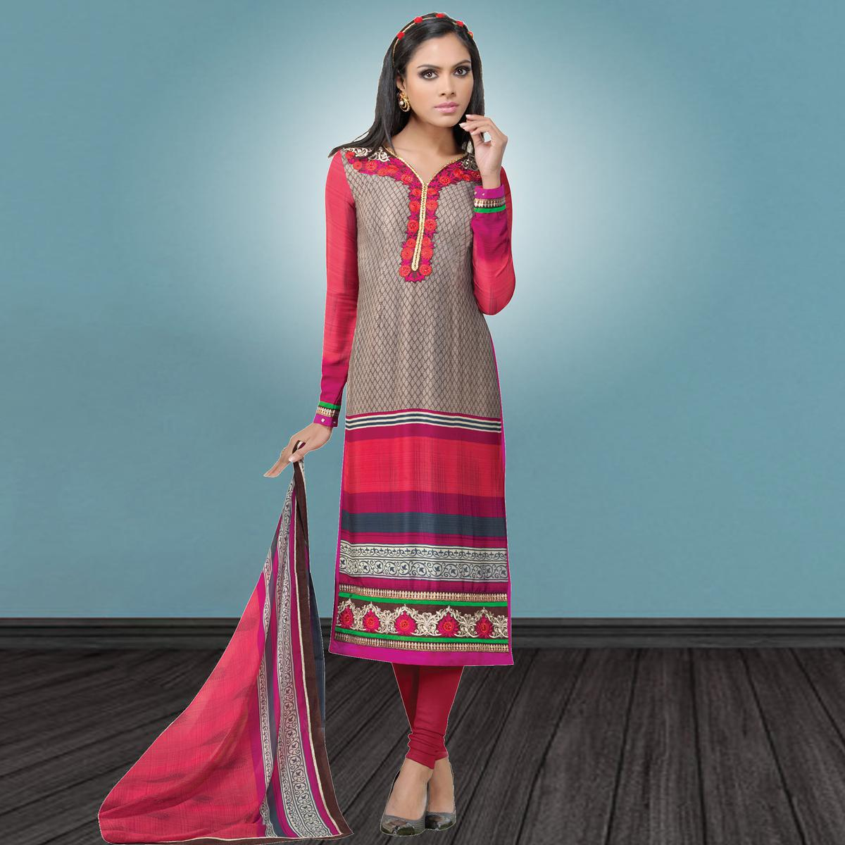 Innovative Grey & Pink Colored Party Wear Embroidered Crape Suit