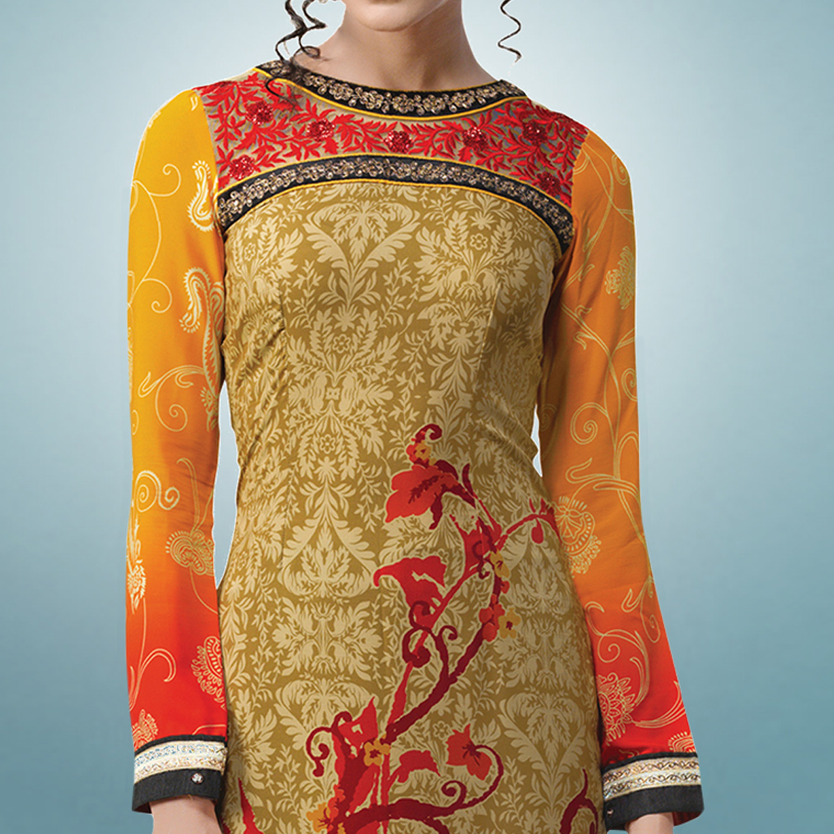 Gleaming Orange & Red Colored Party Wear Embroidered Crape Suit