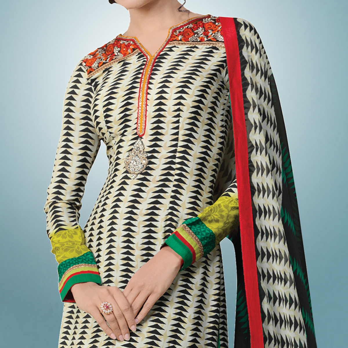 Arresting Multi Colored Party Wear Embroidered Crape Suit