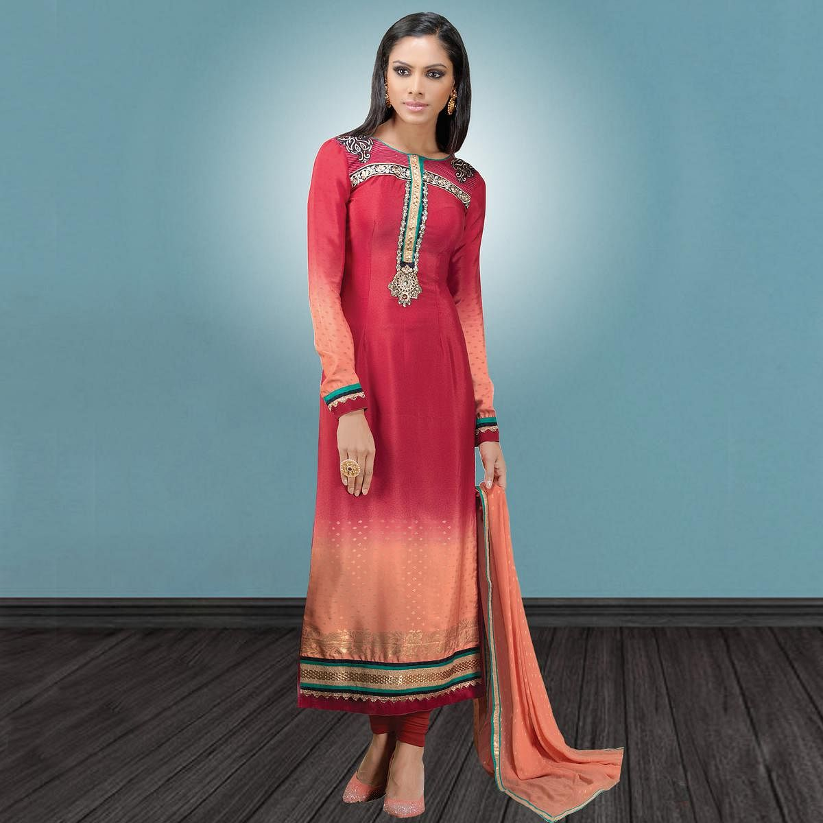 Exceptional Dark Pink & Peach Colored Party Wear Embroidered Crape Suit