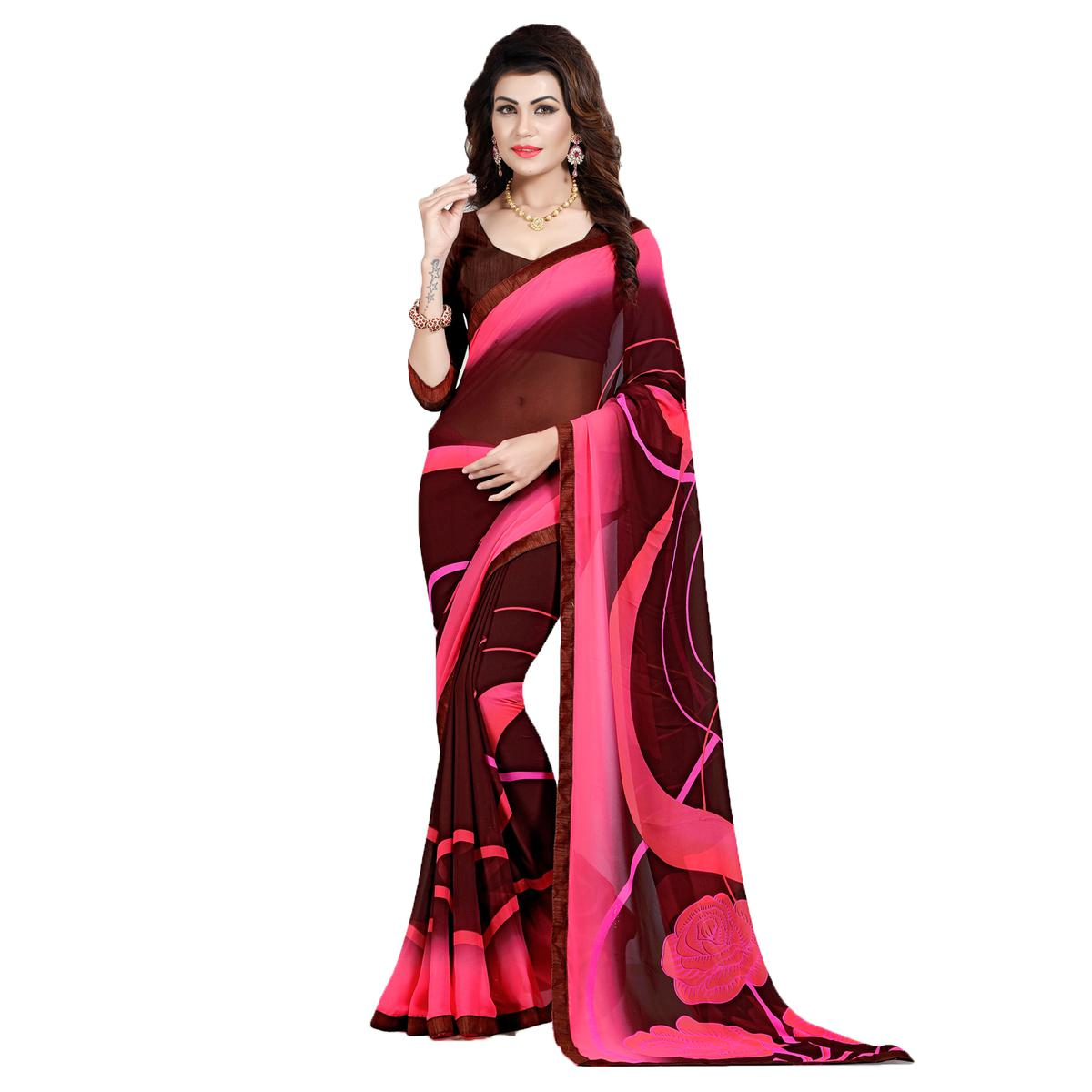 Pink - Brown Casual Wear Saree