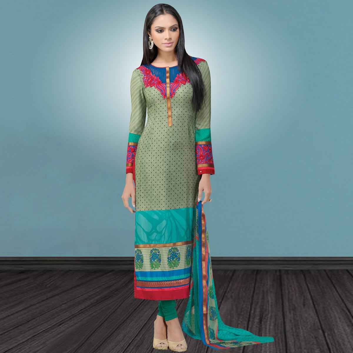 Excellent Mint Green Colored Party Wear Embroidered Crape Suit