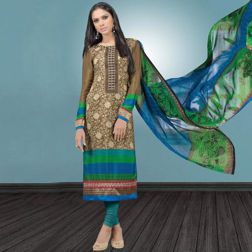 Ethnic Brown Colored Party Wear Embroidered Crape Suit