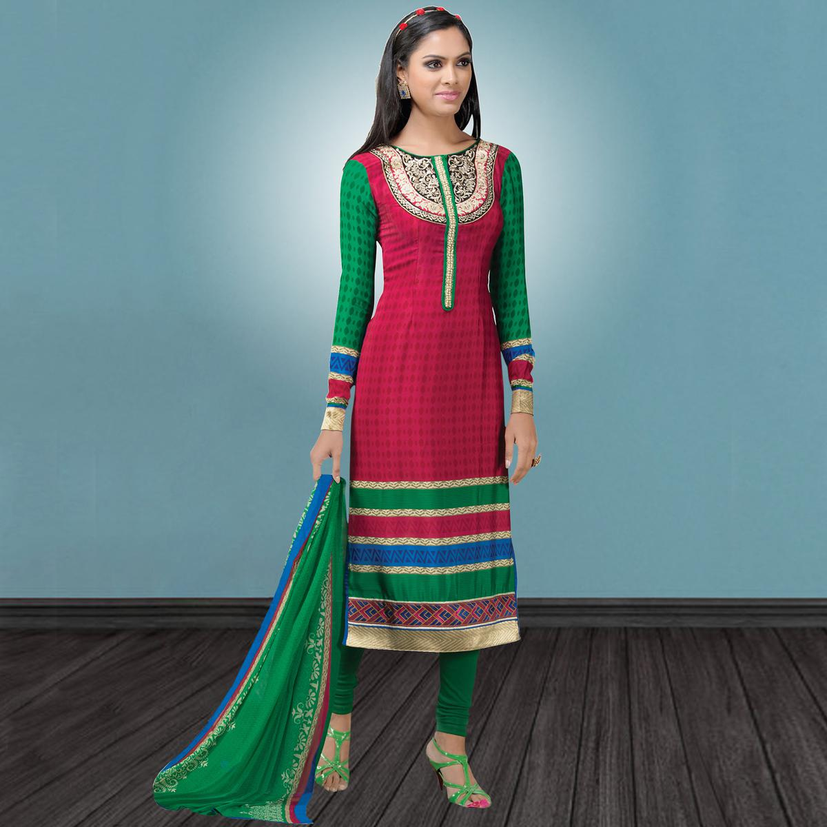 Starring Dark Pink Colored Party Wear Embroidered Crape Suit