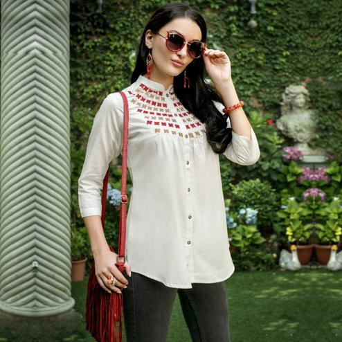 Classy White Colored Casual Wear Rayon Top