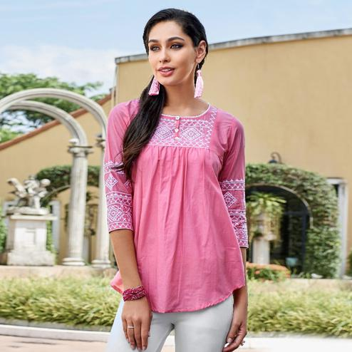 Demanding Pink Colored Casual Wear Rayon Top