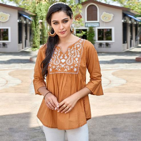 Adorable Orange Colored Casual Wear Rayon Top