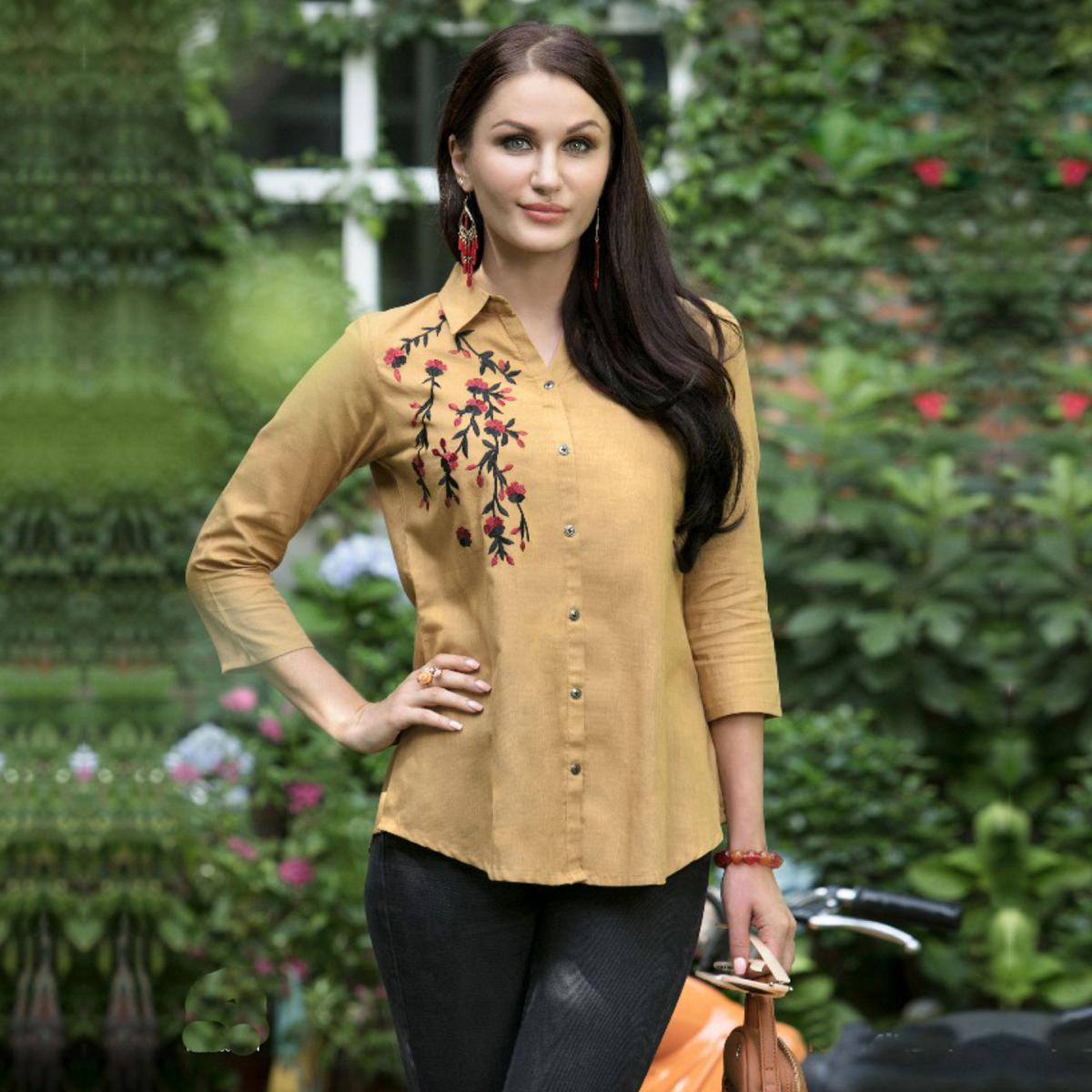 Lovely Cream Colored Casual Wear Rayon Top