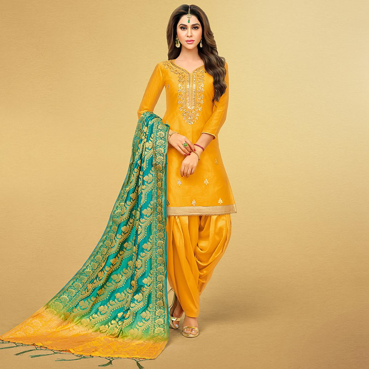 Pleasant Mustard Yellow Colored Party Wear Embroidered Art Silk Patiala Suit