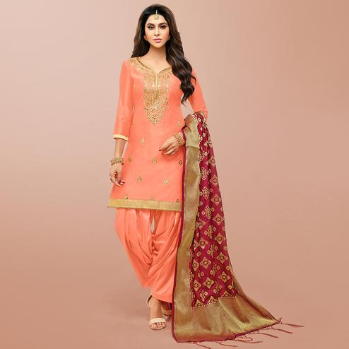 Unique Dark Peach Colored Party Wear Embroidered Art Silk Patiala Suit