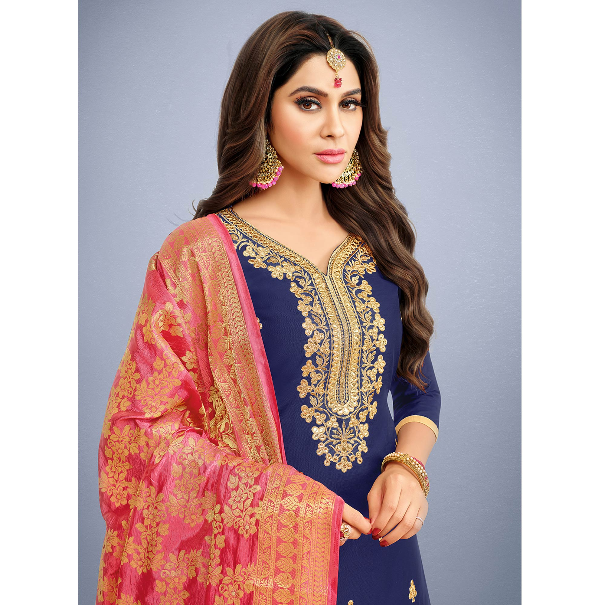 Elegant Navy Blue Colored Party Wear Embroidered Art Silk Patiala Suit