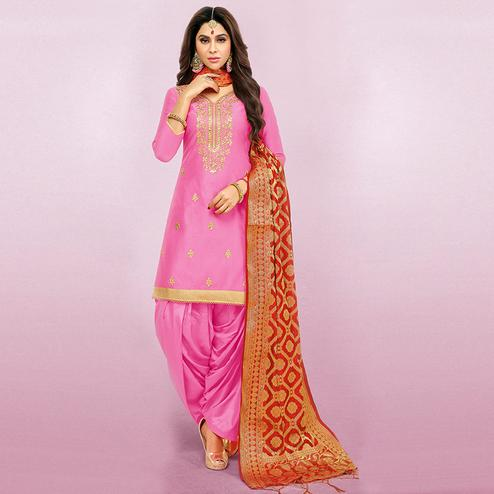 Alluring Pink Colored Party Wear Embroidered Art Silk Patiala Suit
