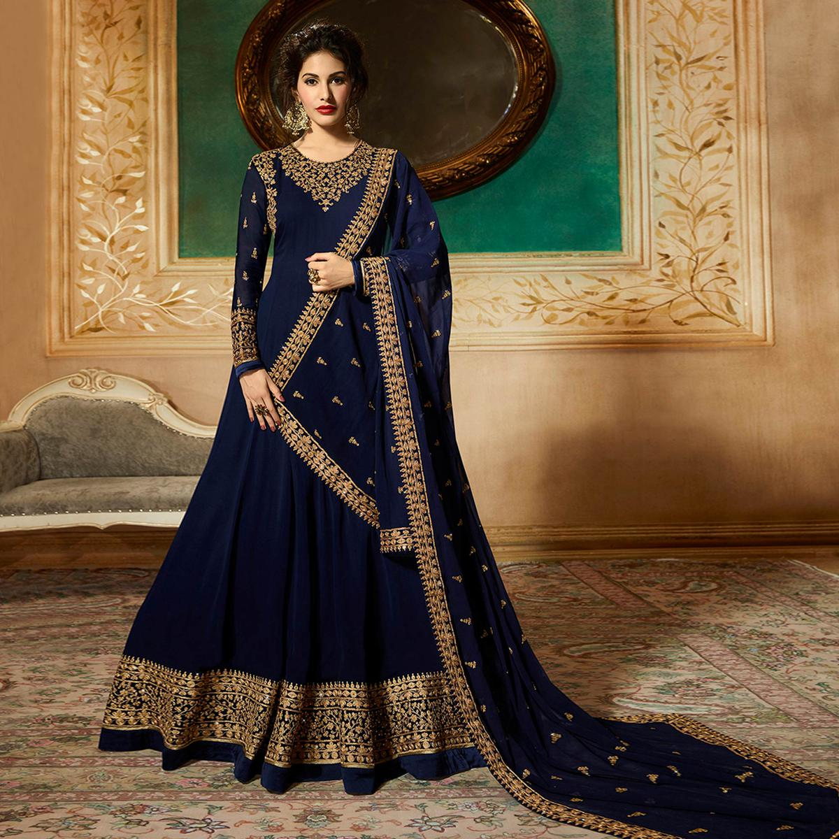 Stunning Blue Colored Partywear Embroidered Faux Georgette Anarkali Suit