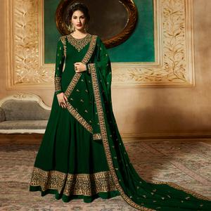Amazing Green Colored Partywear Embroidered Faux Georgette Anarkali Suit