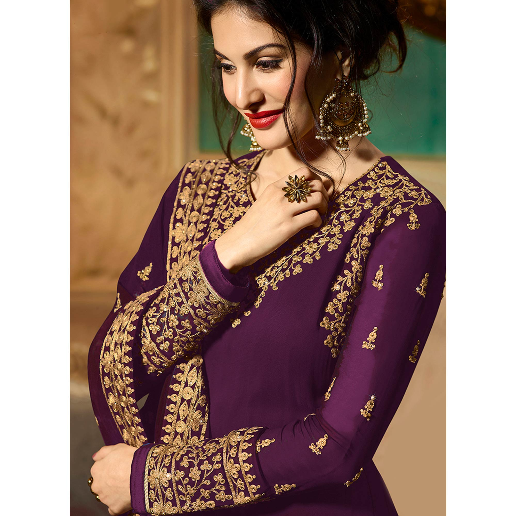 Trendy Purple Colored Partywear Embroidered Faux Georgette Anarkali Suit