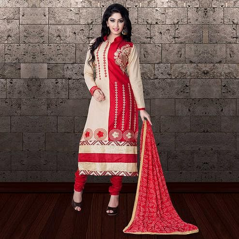 Attractive Beige-Red Colored Partywear Embroidered Cambric Cotton Dress Material