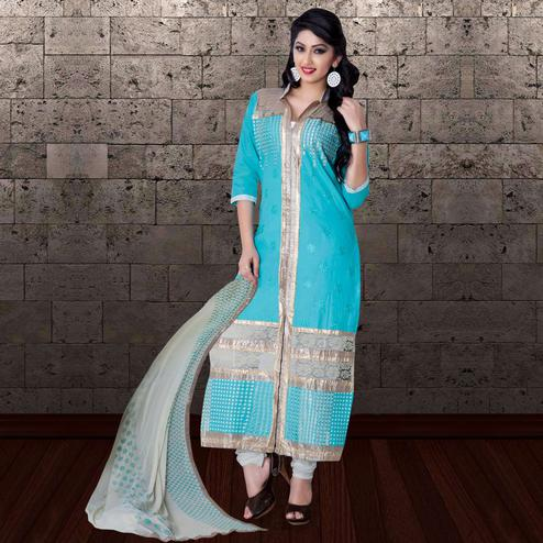 Beautiful Sky Blue Colored Partywear Embroidered Cambric Cotton Dress Material